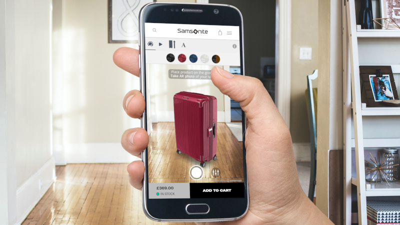 Samsonite suitcases in Interactive Augmented Reality