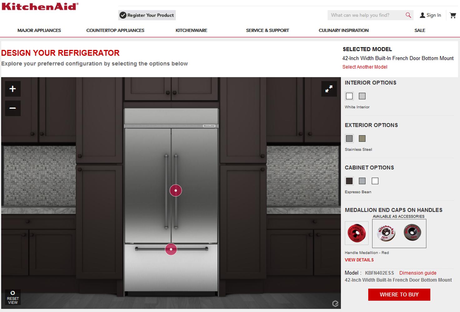 KitchenAid's refrigerator's in Interactive 3D configurator