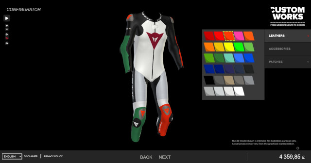 Dainese Custom Works: Personalize Motorbike leathers in Interactive 3D